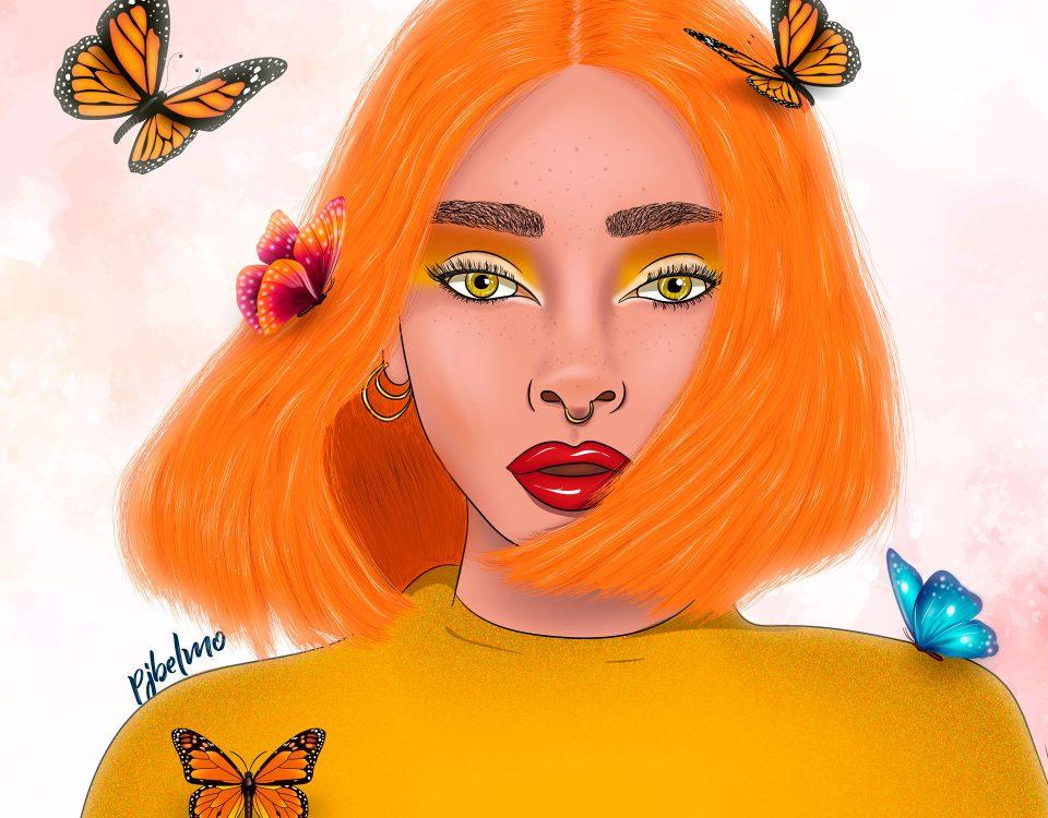 chica maripo naranja grande