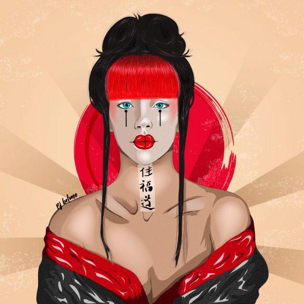 geisha cuadro